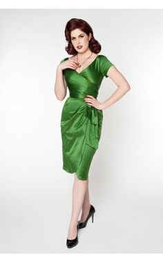 Pinup Couture - Ava Dress in Jade Green | Pinup Girl Clothing Worn for a shoot and loved it!