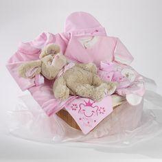 Sleepy teddy girls baby hamper wrapped in baby pink organza £40