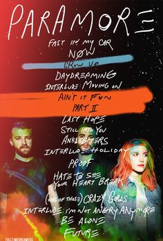 Paramore. Amazing self-titled album. Still into you, Now, Ain't it fun, Daydreaming, Proof and a couple of others are great. Shame they didn't carry on any themes from ignorance or misery business as far as I could tell.