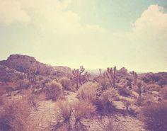 landscape photo, Palm Springs desert, rocks, Joshua Tree national park California travel, photography, nature, blue yellow, 5x7 print