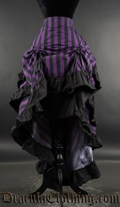 Purple Striped Layer Bustle Skirt
