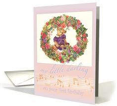 I think teddy bear & exquisite floral make a great combo...Granddaughter First Teddy Bear Floral Birthday card (775676)