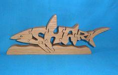 Shark Handmade Wooden Scroll Saw Puzzle by huebysscrollsawart, $12.00