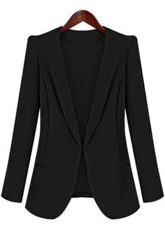 OL Style Solid Black Long Sleeve Blazer for Woman