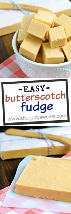 Creamy, melt in your mouth Butterscotch Fudge is an easy recipe to make any time of year! This fudge requires NO candy thermometer! Easy Desserts, Delicious Desserts, Dessert Recipes, Yummy Food, Holiday Baking, Christmas Baking, Christmas Crack, Christmas Candy, Butterscotch Fudge