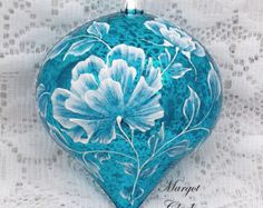 Turquoise Textured Floral Design Ornament with Bling 461 by MargotTheMUDLady on Etsy Purple Christmas Ornaments, Gold Christmas Decorations, Christmas Ornaments To Make, Christmas Crafts, Blue Christmas, Hand Painted Ornaments, Beaded Ornaments, Handmade Ornaments, Ball Ornaments