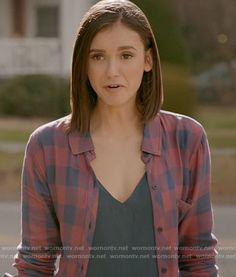 Elena's blue and pink checked shirt on The Vampire Diaries.  Outfit Details: https://wornontv.net/67323/ #TheVampireDiaries