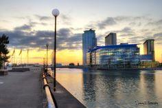 Sun going down on Media City.