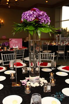 Red and purple wedding decor photo credit carrie wildes photography