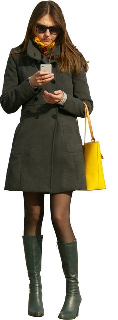 Woman using phone with yellow handbag | Architextures