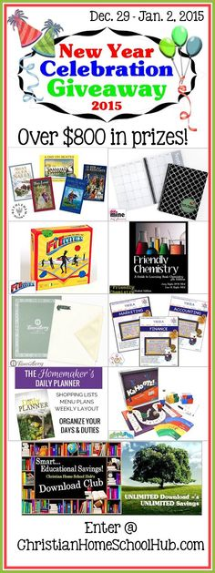 Over $800 worth of prizes are being given away in the 1st Homeschool Giveaway of 2015! ** Giveaway Dates: Dec 29 - Jan. 2, 2015To enter...Go to: http://www.christianhomeschoolhub.com/giveaways.htm