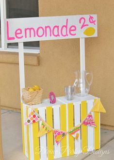 Pink Lemonade Stand at a Birthday Party!  See more party planning ideas at CatchMyParty.com!