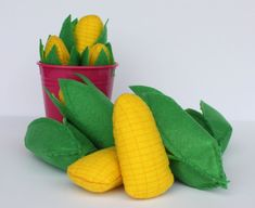 Pretend Play ~ Corn on the Cob & Husk ~ Felt Fake food for playing Farmer, Kitchen Chef Cook Grocery Shop, Unique gift idea baby, toddler
