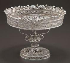 A Russian Silver Filigree Tazza
