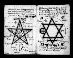 A 15th century magical manuscript from Oxford, depicting a complex pentagram (the 5 pointed star without a surrounding circle) and Seal of Solomon (in alchemy, the combination of the fire and water symbols (up and down triangles)). The Seal of Solomon is all that is unified in perfect balance; the Spirit Wheel.