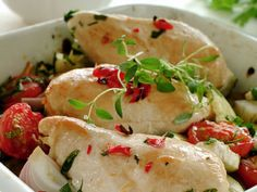 Kyllingfilet i form med grønnsaker