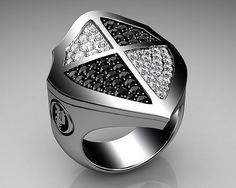 Unique Mens Ring Cross Shield Ring Sterling Silver with Black and White Diamonds By Proclamation Jewelry