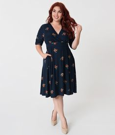 258176f050 Retro Style Plus Size Navy Blue   Posey Print Gabriella Jersey Dress