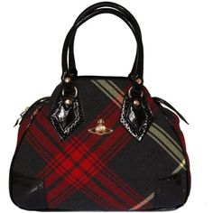 Vivienne Westwood Accessories - 5973 Tartan Broguing Bag ($460) ❤ liked on Polyvore featuring bags, handbags, purses, red, black, mac edward, plaid handbags, red patent leather handbags, red purse and tartan handbags