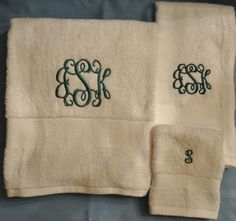 Personalized Bath towel set Single or 3 initial by SegerStitches