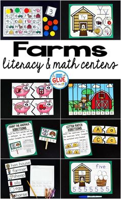 Farm Literacy And Math Centers A Dab Of Glue Will Do - Engage Your Class In An Exciting Hands On Experience Learning More About Farmsthis Farm Literacy And Math Centers Resource Is Perfect For Language Arts And Math Centers In Preschool Pre K Kindergar Farm Activities, Hands On Activities, Preschool Farm, Language Activities, Preschool Classroom, Future Classroom, Educational Activities, Toddler Preschool, Classroom Ideas