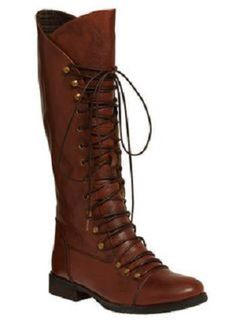 tall, lace up riding boot with brass