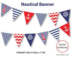 Printable banner, nautical banner, navy blue, bunting pennants,birthday banner, baby shower banner, party printables, banners, nautical party, diy