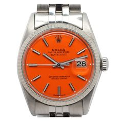 Rolex Steel Datejust Watch with Custom Orange Dial circa 1968. The man that needs this watch is the man for me.