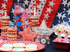 classic 4th of july party loved the donut stands