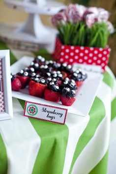 #Ladybug #Strawberries for a Ladybug indoor picnic First birthday party