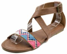 Charles Albert Women's Kriss Kross Tribal Print Sandal with Ankle Cuff >>> For more information, visit now : Gladiator sandals