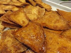 Caramelized Baked Buñuelo Chips - Hispanic Kitchen now that is yummy.... also try TSL Cinna or Chocolate Chips!
