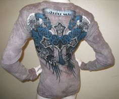 Sinful by Affliction Thermal T-Shirt Crystals Blue Taupe Long Sleeve S NEW Heart