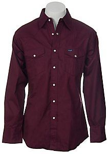 Wrangler® Burgundy Twill Long Sleeve Workshirt