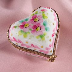 Limoges pink heart with roses box