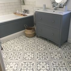 New Ideas For Bath Room Floor Remodel Laundry Rooms Moroccan Tile Bathroom, Small Bathroom, Bathroom Floor Tiles, Moroccan Bathroom, Bathroom Decor, Flooring, Bathrooms Remodel, Grey Bathroom Floor, Grey Cabinets