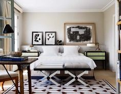 Bedroom - Love the shelf along the back wall....great for displaying art & objects.  Love the black/white palette & selected furnishings.