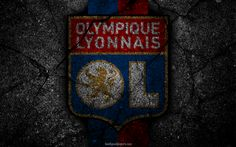 Download wallpapers Lyon, logo, art, Olympique Lyon, Liga 1, soccer, Olympique Lyonnais, football club, Ligue 1, grunge, Lyon FC