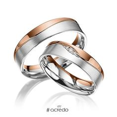 1 pair of wedding rings - alloy: rose gold 585 / - white gold 585 / - width: - height: - set with stones: 3 brilliants totaling ct. tw, si (ring 1 with stone trimming, ring 2 without trimming) Cool Wedding Rings, Wedding Rings Rose Gold, Wedding Bands, Gold Rings, Wedding White, Couple Bands, Wedding Accessories, Jewelry Design, Women Jewelry