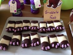 Gruffalo party---looks like store bought brownies dipped in chocolate and white chocolate with candy toes. Cute and simple Gruffalo feet 5th Birthday Boys, 3rd Birthday Parties, Birthday Celebration, Gruffalo Party, The Gruffalo, Teddy Bear Party, Nursery Activities, Rainbow Decorations, Woodland Party
