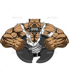 Angry Dog Bodybuilder by Andrey1005 Vector graphics Install any size without loss of quality. ZIP archive contains: -file EPS10; -file PNG; -file PSD