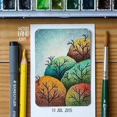 Aceo#107 • trees (available for preorder at hola@gusososland.com) #gusosos_aceo_project #1aceo_a_day #aceo_project_round2