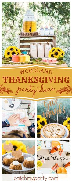 Give thanks this Thanksgiving with this wonderful Forest Friendsgiving! The table settings are gorgeous!! See more party ideas and share yours at CatchMyParty.com #partyideas #thanksgiving #woodland