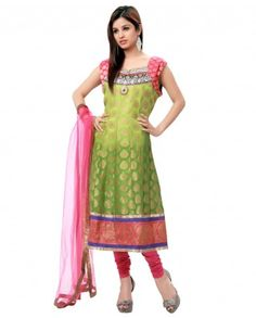 $88 Feel the greenery around you with this graceful green and pink color suit. This suit is creatively made with touch of kundan,sequins and zardozi work. Centre front has a brooch which is the centre of attraction. Border is cool with raw silk material.    Color-Green and pink  Material-Georgette and net  Work-Kundan,sequins and zardozi  Kurta-Color-Green ; Material-Banarasi georgette and brocade  Dupatta-Color-Pink ; Material-Net  Churidar-Color-Pink ; Material-silk  Length of Top-45""