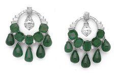 SITA DEVI MAHARANI OF KAPURTHALA Emerald And Diamond Drop Earrings