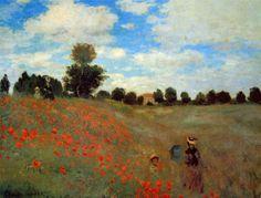 Reproduction de Monet, Les Coqueliquots. Tableau peint à la main dans nos ateliers. Peinture à l'huile sur toile.