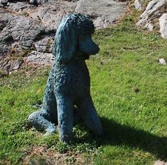 The Sitting Black Standard Poodle is created true to life size, and is cast in solid bronze. Sculpture includes a single Sitting Black Standard Poodle on a natural base. 4-6 months production time from placement of order.
