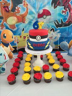 decoracion cumpleaños pokemon torta cupcakes