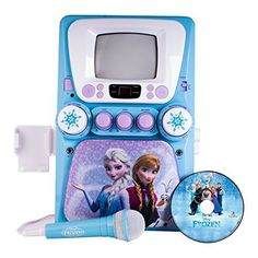 Provide children musical fun with the Frozen Disney Karaoke with Screen machine. It brings pop musics from the film to a party for home entertainment. It showcases a picture of the two sisters and snowflake accents. Frozen Disney, Real Frozen, Frozen Sing, Frozen Stuff, Disney Karaoke, Karaoke Songs, Toys For Girls, Kids Toys, Girl Toys Age 5