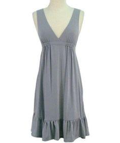 Lightweight Sleeveless V-Neck Silver/Grey Dress